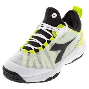 Men`s Speed Blushield Fly 3 Plus AG Tennis Shoes White and Lime Green