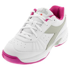 Juniors` S. Challenge 3 SL Tennis Shoes White and Ibis Rose