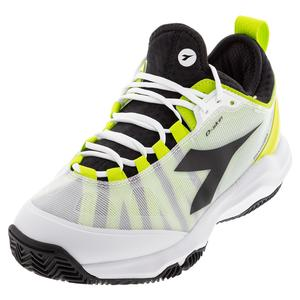 Men`s Speed Blushield Fly 3 Plus Clay Tennis Shoes White and Lime Green