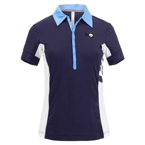 Women`s 110 Year Tennis Polo Navy and White