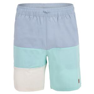 Men`s Cross Court Color Block Tennis Short Blue Fog and Blue Turquoise