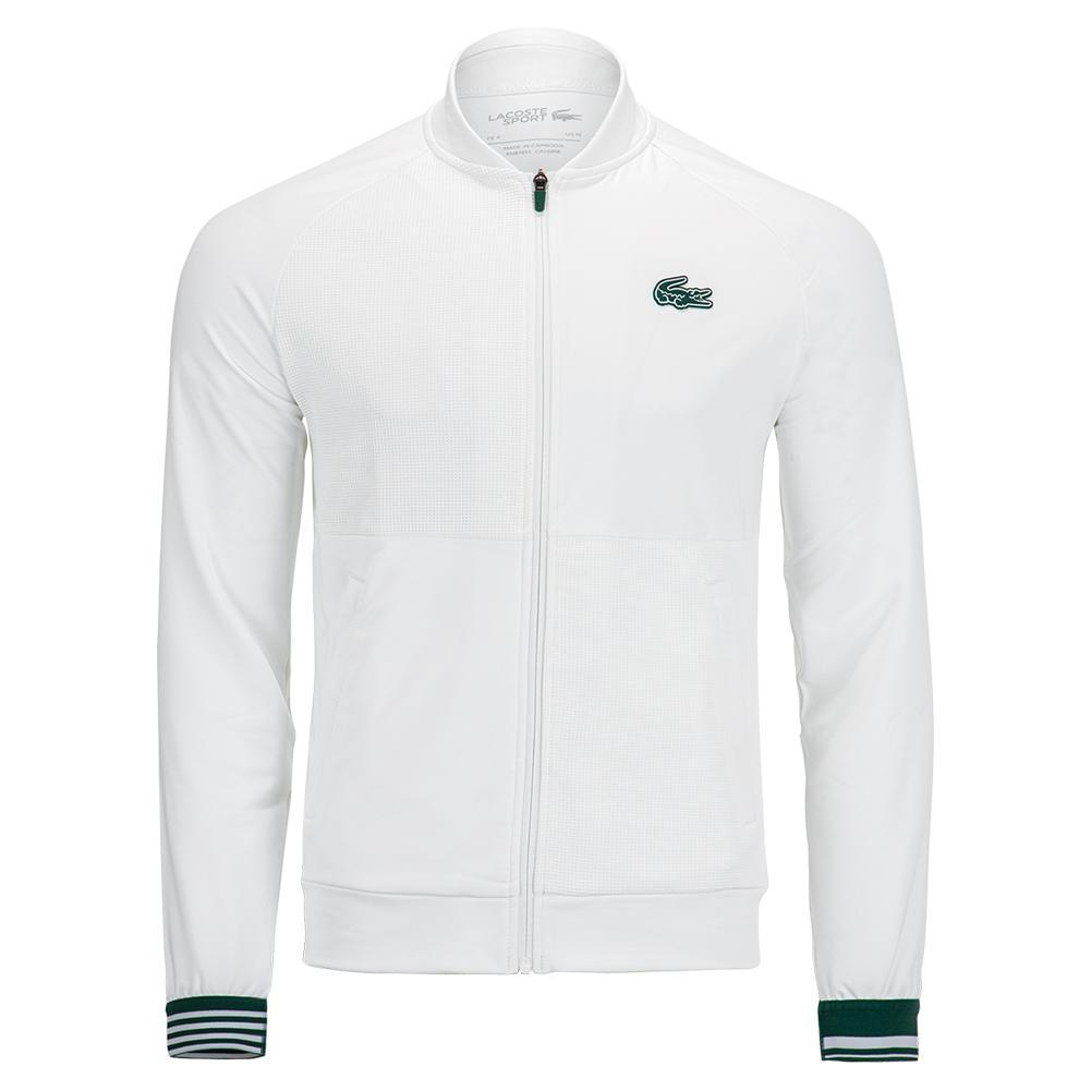 Men's Tonal Color Block Midlayer Tennis Bomber Jacket White And Swing