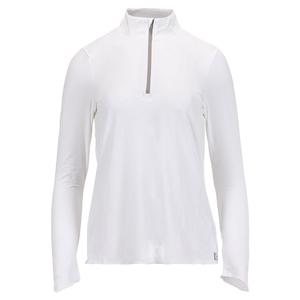 Women`s Sun Protector Half Zip Tennis Tunic White