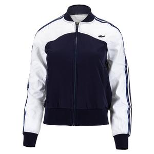Women`s Color Block Tennis Jacket White and Navy Blue