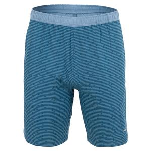 Men`s Pieced Print Athletic Tennis Short Real Teal