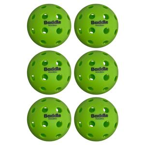 40 Hole Outdoor Baddle Pickleballs 6-Pack Green