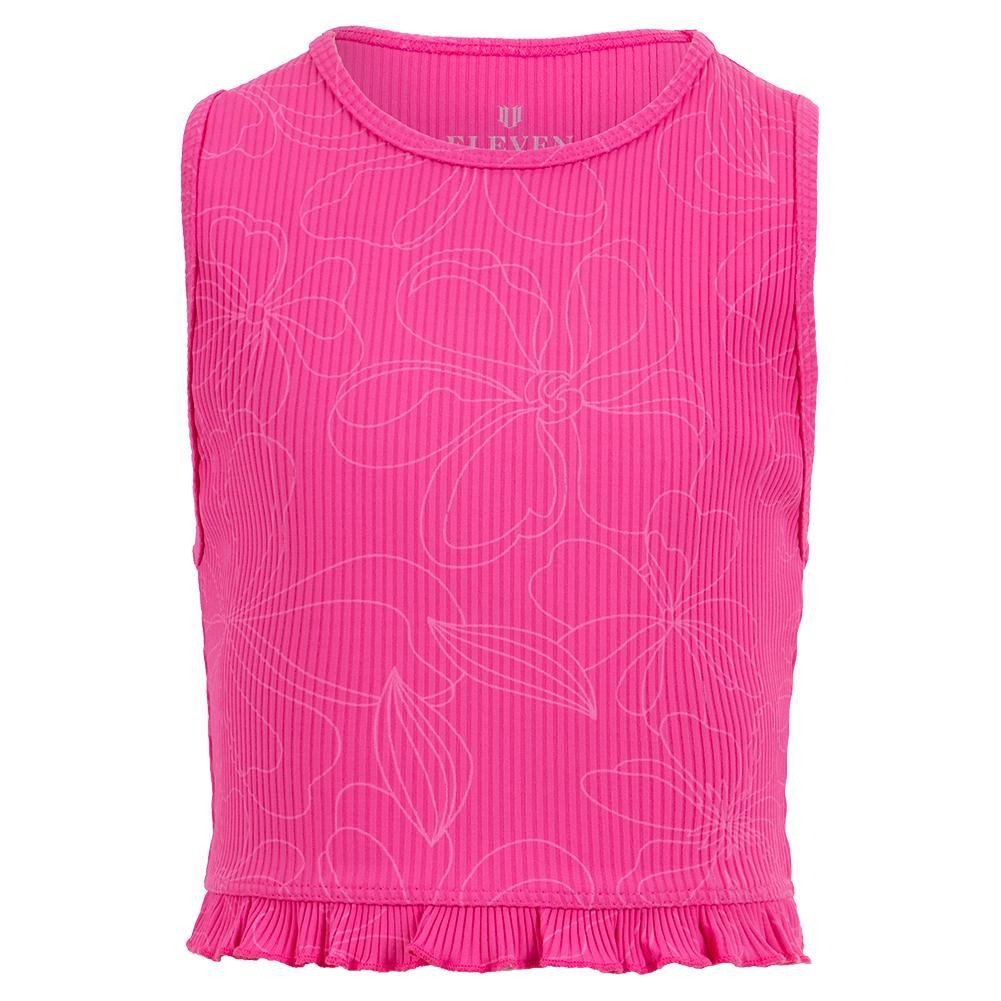 Women's Divine Yoga Tennis Tank Top Disco Pink In Florals