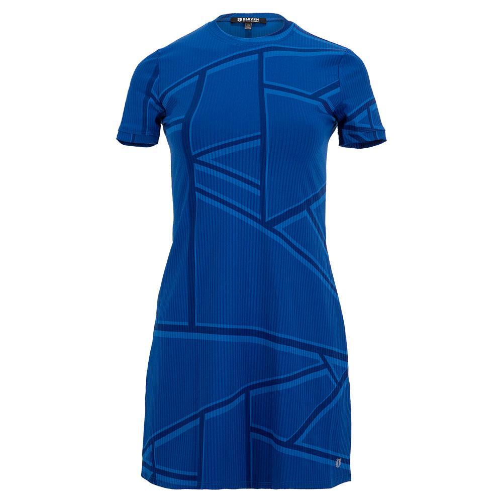 Women's Broken Window Pane Ringer Tennis Dress Electric Blue