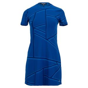 Women`s Broken Window Pane Ringer Tennis Dress Electric Blue