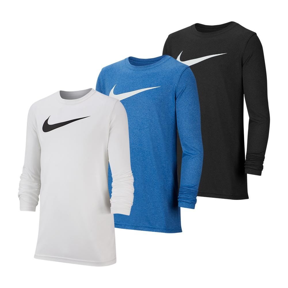 Boys ` Dri- Fit Long- Sleeve Training T- Shirt