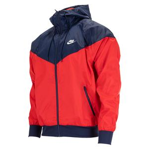 Men`s Sportswear Windrunner Hooded Jacket University Red and Midnight Navy