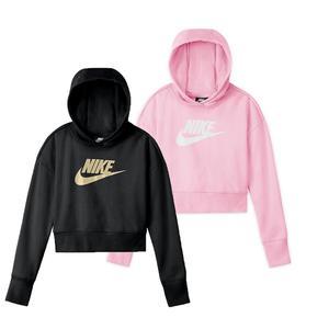 Girls` Sportswear Club French Terry Cropped Hoodie