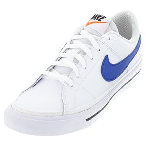 Juniors` Court Legacy Tennis Shoes White and Game Royal
