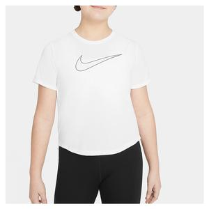 Girls` Dri-FIT One Short-Sleeve Training Top White and Black
