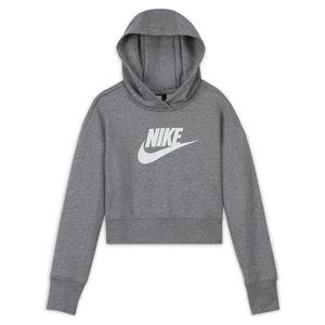 Girls` Sportswear Club French Terry Cropped Hoodie Carbon Heather and White