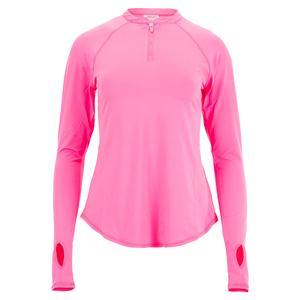 Women`s UV Long Sleeve Tennis Crew with Zipper Candy Pink