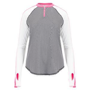 Women`s UV Long Sleeve Tennis Crew with Sleeve Panels Herringbone