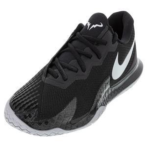 Men`s Rafa Court Zoom Vapor Cage 4 Tennis Shoes Black and Metallic Silver