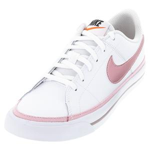 Juniors` Court Legacy Tennis Shoes White and Pink Glaze