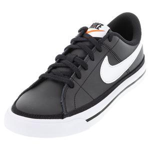 Juniors` Court Legacy Tennis Shoes Black and White