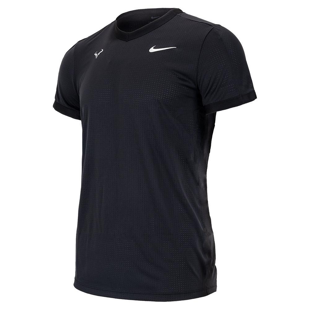 Men's Rafa Court Dri- Fit Adv Short- Sleeve Tennis Top Black And Metallic Silver