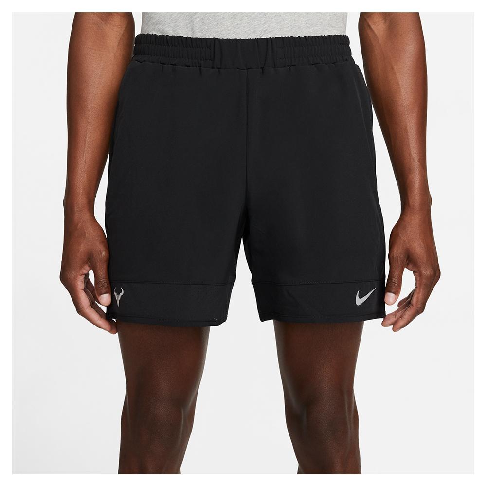Men's Rafa Court Dri- Fit Adv 7 Inch Tennis Shorts Black And Metallic Silver