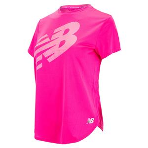 Women`s Accelerate Printed Short Sleeve Top Pink Glo