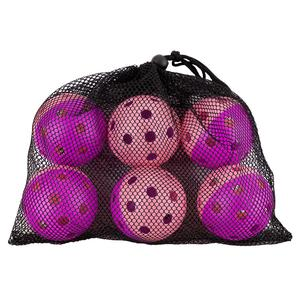 Indoor Pickleball Training Balls Bag of 6 Purple and Pink