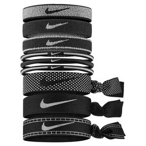 Women`s Mixed Hairbands 9 Pack Reflective Black and Silver