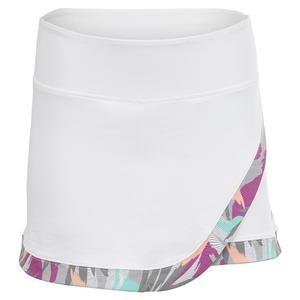 Women`s Wrap Printed Tennis Skort White and Modern Fern