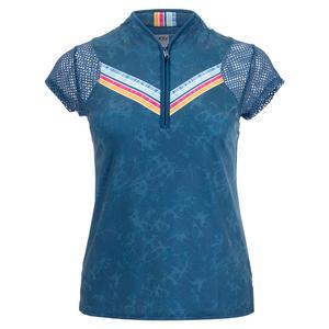 Women`s Feeling Inky Short Sleeve Tennis Top Indigo