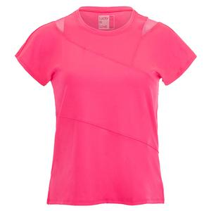 Women`s Love You To Pieces Short Sleeve Tennis Top Shocking Pink