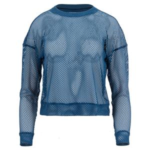 Women`s Mesh Long Sleeve Tennis Pullover Indigo