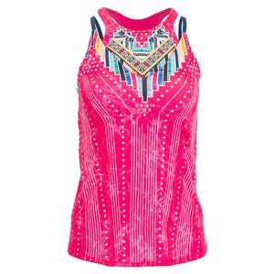 Women`s Pretty in Ink Bralette Tennis Tank Shocking Pink