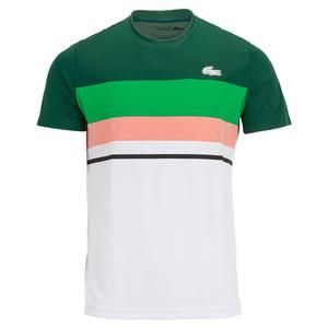 Men`s Color Block Short Sleeve Tennis Top Swing and White