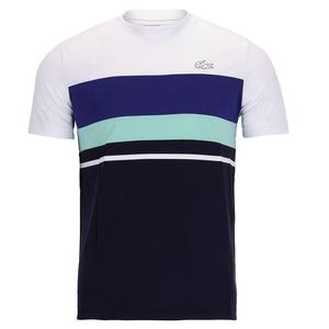 Men`s Color Block Short Sleeve Tennis Top White and Navy Blue