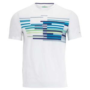 Men`s Gradient Multi Chest Print Tennis Crew Bright White