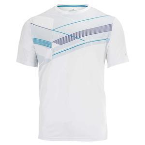 Men`s Linear Geo Print Tennis Crew Bright White