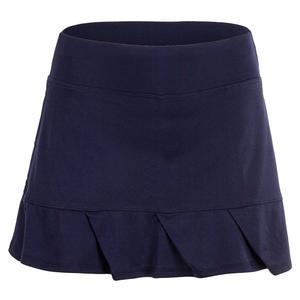 Women`s Essential Solid Tennis Skort With Pleated Ruffle Hem Peacoat