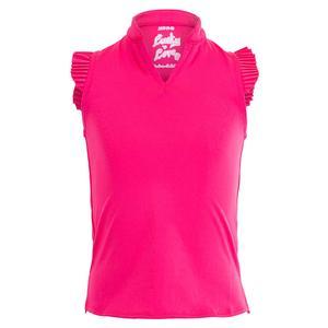 Girls` Pleat Me Up Tennis Tank Shocking Pink