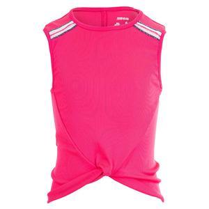 Girls` Twist Front Tennis Tank Shocking Pink