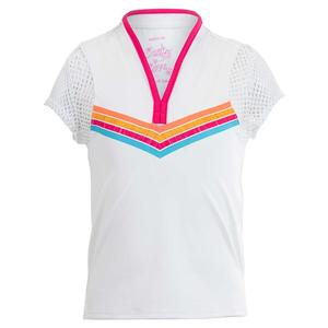 Girls` Feelin` Ink Short Sleeve Tennis Top White