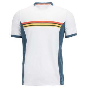 Men`s Pieced Print Chest Stripe Tennis Crew Bright White
