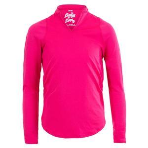 Girls` Mandarin Collar Long Sleeve Tennis Top Shocking Pink