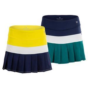 Women`s Color Block Border Flutter Tennis Skirt