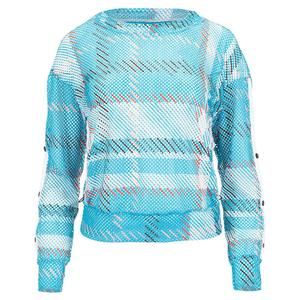 Women`s Checkin` Out Long Sleeve Tennis Pullover Turquoise
