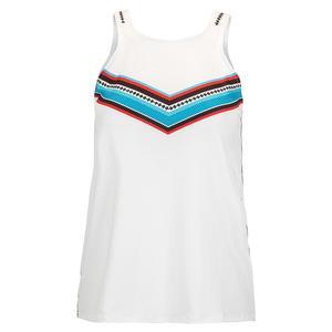 Women`s Color Block Tie Back Tennis Tank White
