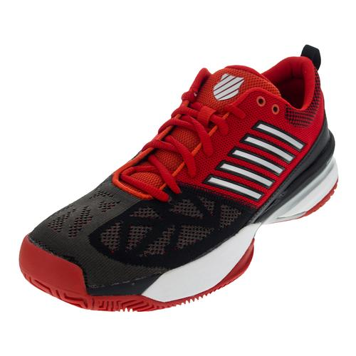 Men's Knitshot Tennis Shoes Firey Red And Black