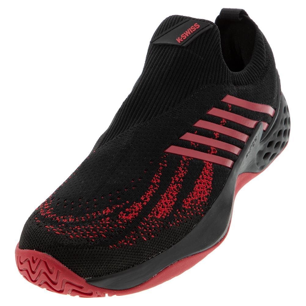 Men's Aero Knit Tennis Shoes Black And Lollipop