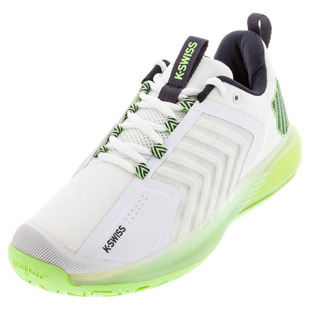 Men's Ultrashot 3 Tennis Shoes White And Soft Neon Green